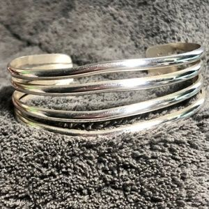 4 Row Split Cuff Sterling Silver Bracelet
